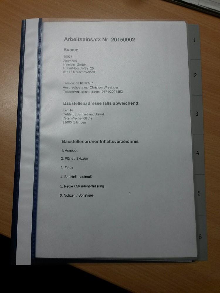 Feedback und Arbeitseinsatz Deckblatt der Firma Bauspenglerei Rudolf Götz GmbH